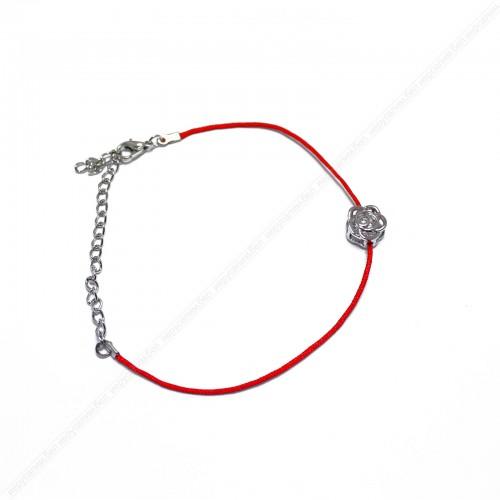 Браслет красная нить с розой (цвет: золото, серебро)