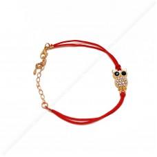 Браслет красная нить с совой (цвет: золото, серебро)