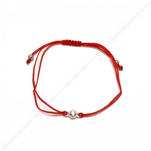 Браслет красная нить с ярким кристаллом