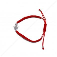 """Красный браслет с подвеской """"Рука хамсы"""""""