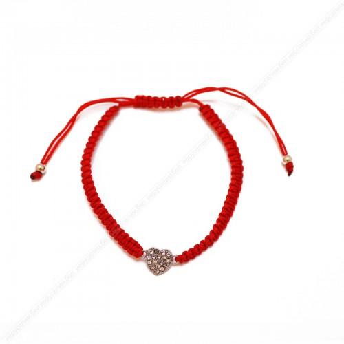 """Красный браслет с сердцем """"18 кристаллов"""""""