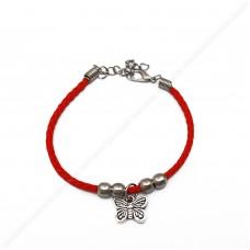 Красный браслет с бабочкой