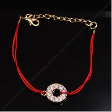 Красный браслет с подвеской №1
