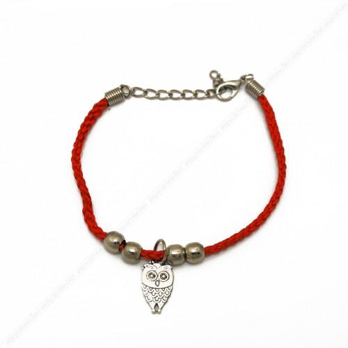 Красный браслет с совой