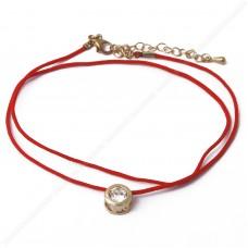 Двойной браслет, красная нить с круглым кристаллом сваровски.