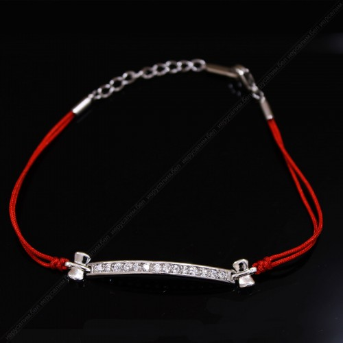 Браслет красная нить с кристаллами сваровски (премиум)
