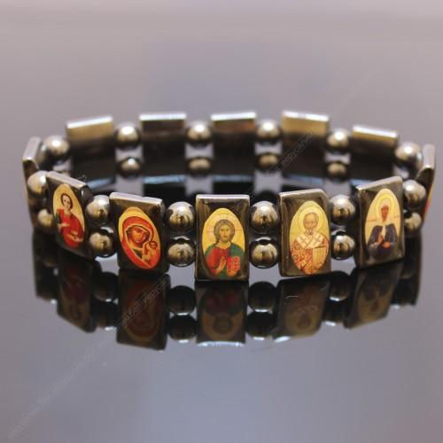Браслет целебный из циркония со святыми образами