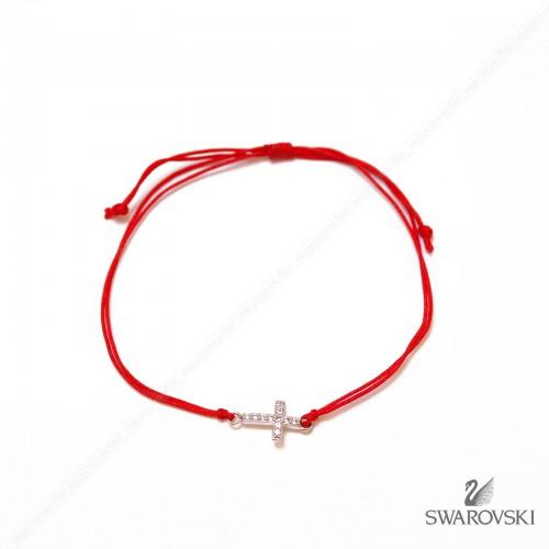 Красная нить с подвеской Крестик