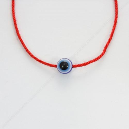 Красная нить с оберегом Кошачий глаз - для отвода сглазов