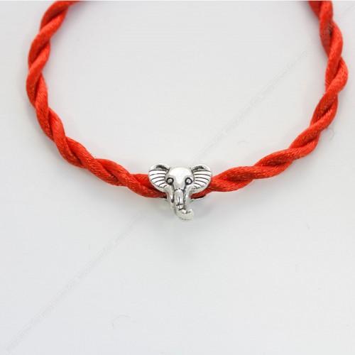 Красная, шелковая нить с оберегом шармом - Слон